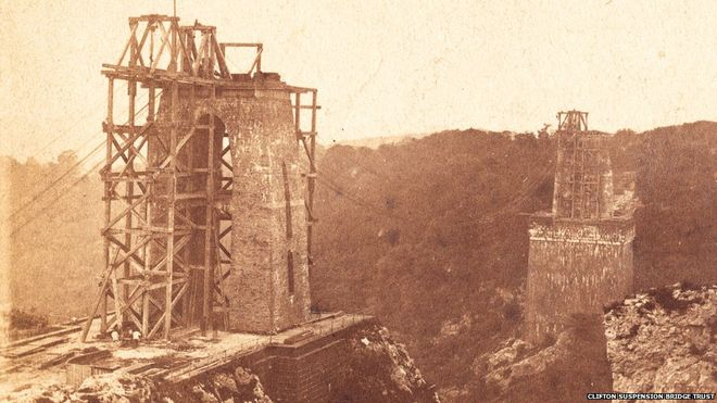 Clifton Suspension Bridge being built